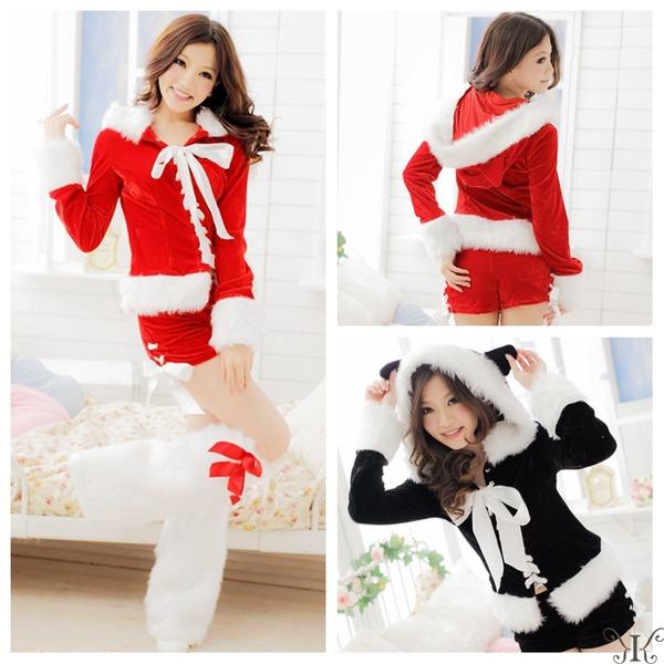 大きいサイズ L~3L☆レッド 猫耳サンタ ベロアサンタセット【クリスマス/クリスマス衣装/サンタクロース衣装/クリスマスコスプレ】f00