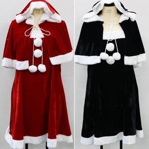 大きいサイズ LL〜4L☆レッド ケープ付 ストレッチ ベロア素材 サンタ ワンピース【クリスマス/クリスマス衣装/サンタクロース衣装/クリスマスコスプレ】