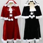 大きいサイズ LL〜4L☆ブラック ケープ付 ストレッチ ベロア素材 サンタ ワンピース【クリスマス/クリスマス衣装/サンタクロース衣装/クリスマスコスプレ】