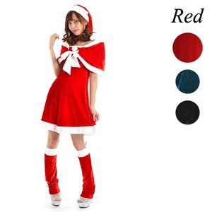 5563Red/ケープ付きフレアサンタドレス♪【クリスマス/クリスマス衣装/サンタクロース衣装/サンタ/コスプレ/コスチューム/イベント/パーティ/仮装】