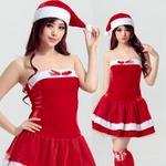 9218【胸元リボン サンタ衣装/サンタ/クリスマス/コスプレ/コスチューム/イベント/パーティ/仮装/衣装】