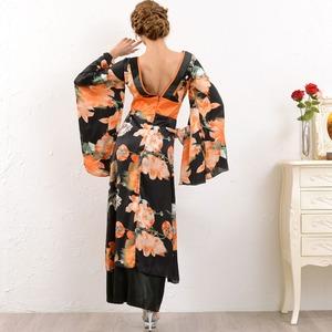 1047 ブラックオレンジ/フラワーロング 着物ドレス/和柄/花魁/キャバドレス/コスプレ/コスチューム/パーティ/イベント/衣装
