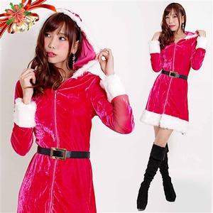 5553 チェリーピンク パーカー風ベルト付きフードドレス/クリスマス/サンタ/コスプレ/コスチューム/イベント/パーティ/衣装/仮装】