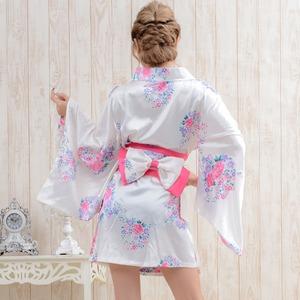 0450黒/サテン和柄花魁ミニ着物ドレス/着物...の紹介画像2