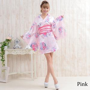 0450黒/サテン和柄花魁ミニ着物ドレス/着物...の紹介画像6