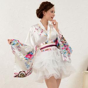 1050白/サテン和柄豪華花魁ミニ着物ドレス /...の商品画像