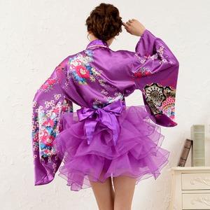 1050白/サテン和柄豪華花魁ミニ着物ドレス ...の紹介画像2