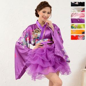 1050白/サテン和柄豪華花魁ミニ着物ドレス ...の紹介画像5
