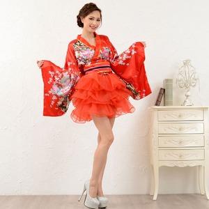 1050赤/サテン和柄豪華花魁ミニ着物ドレス /...の商品画像