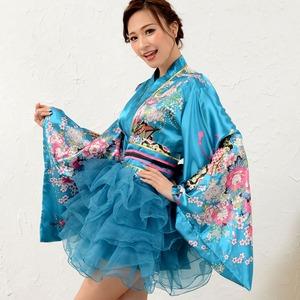 1050赤/サテン和柄豪華花魁ミニ着物ドレス ...の紹介画像3