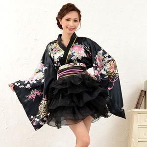 1050赤/サテン和柄豪華花魁ミニ着物ドレス ...の紹介画像5