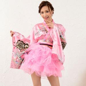 1050ピンク/サテン和柄豪華花魁ミニ着物ドレス...の商品画像