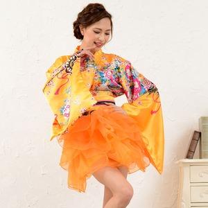 1050オレンジ/サテン和柄豪華花魁ミニ着物ド...の関連商品2