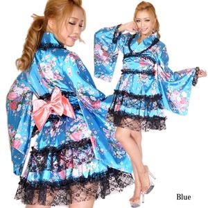 1003ブルー/レースフリルリボンつきサテン花魁ミニ着物ドレス/着物ドレス/和柄/花魁/コスプレ/キャバドレス/コスチューム/パーティ/イベント/衣装/仮装