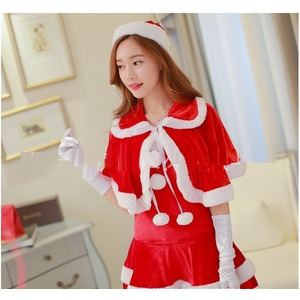 【804030】赤帽子ラブリーサンタさんでハッピーX'mas♪ファーボレロをまとって【サンタクロース衣装/クリスマス/コスプレ/コスチューム/イベント/パーティ/仮装/衣装】