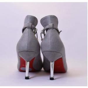 【フーレエル】(K6102)アンクレット風パンプス!足が綺麗に見えるカットデザイン! 22.5cm グレー