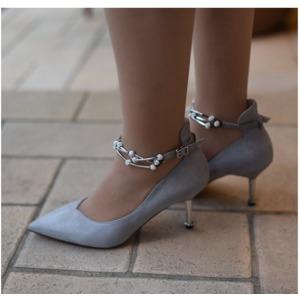 【フーレエル】(K6102)アンクレット風パンプス!足が綺麗に見えるカットデザイン! 23.5cm グレー