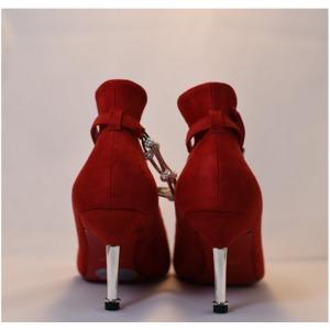 【フーレエル】(K6102)アンクレット風パンプス!足が綺麗に見えるカットデザイン! 24.0cm 紅