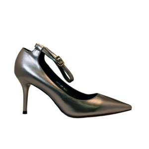 【フーレエル】(K6077)シンプルヒール!安定感と履きやすさ◎!ビジネスにも!22.5cm グレー