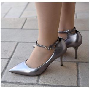 【フーレエル】(K6077)シンプルヒール!安定感と履きやすさ◎!ビジネスにも!24.5cm グレー