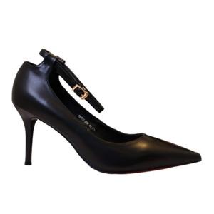 【フーレエル】(K6077)シンプルヒール!安定感と履きやすさ◎!ビジネスにも!24.5cm ブラック