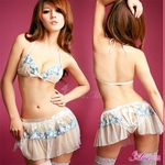 コスプレ 2011新作 ホワイトレース×花刺繍ランジェリー4点セット z565