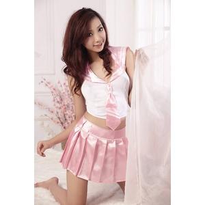コスプレ 『学生服』バック結び紐 ピンクスカートのセーラー服(2点入り)