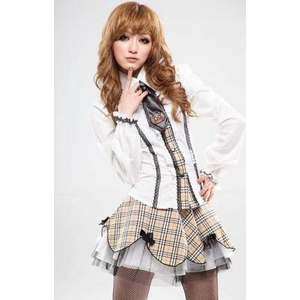 コスプレ リボン&2層パニエスカートの学生服・ (長袖)