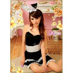 【クリスマスコスプレ】キュートなウサギさん♪黒×白サンタバニーガール/ コスチューム z669 - 拡大画像