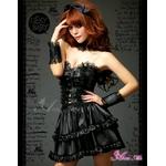 ふんわりスカートのゴスロリ調ブラックドレス/コスプレ コスチューム z671