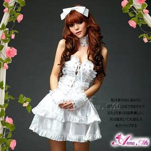 2012新作 ふんわりスカートのゴスロリ調ホワイトドレス/コスプレ コスチューム z672 - 拡大画像