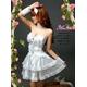 2012新作 ふんわりスカートのゴスロリ調ホワイトドレス/コスプレ コスチューム z672 - 縮小画像2