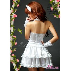 ふんわりスカートのゴスロリ調ホワイトドレス/コスプレ コスチューム z672