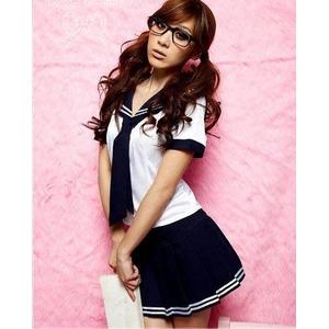 コスプレ 女子高生ミニスカ セーラー服 ネイビー C44 - 拡大画像