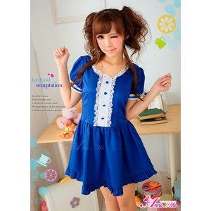 ブルーの可愛いメイドさんコスチューム コスプレ衣装