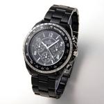 AGENDA(アジェンダ) 腕時計 クロノグラフ ブレスウォッチ AG-8001-02 ブラック×シルバー