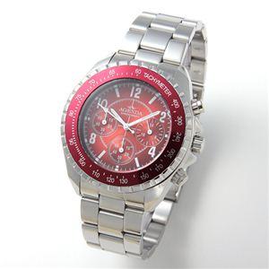 AGENDA(アジェンダ) 腕時計 10気圧防水 クロノグラフ ウォッチ AG-8041-01 レッド - 拡大画像