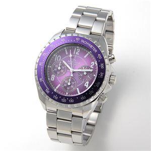AGENDA(アジェンダ) 腕時計 10気圧防水 クロノグラフ ウォッチ AG-8041-03 パープル - 拡大画像