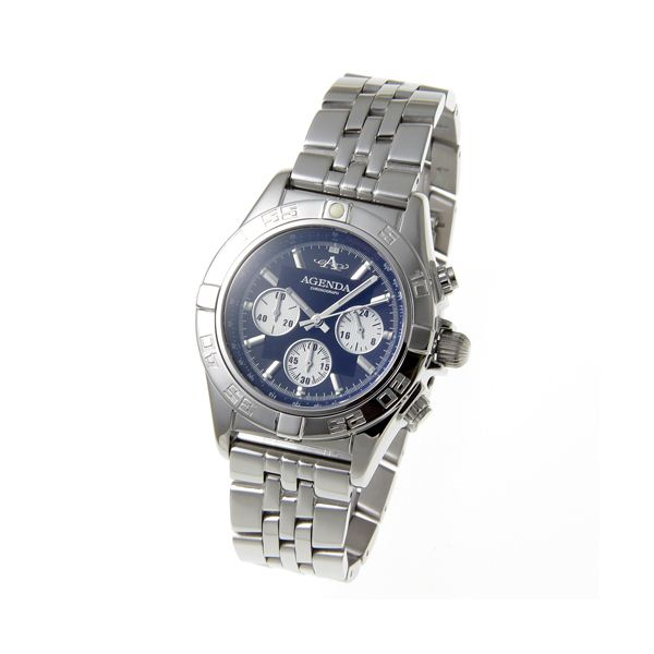 AGENDA(アジェンダ) 10気圧防水 紳士 クロノグラフ 腕時計 AG-8045-02 ブラックf00
