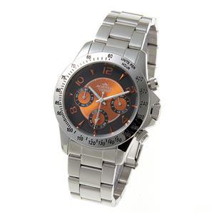 AGENDA(アジェンダ) 10気圧防水 紳士 クロノグラフ 腕時計 AG-8042-04 オレンジ - 拡大画像