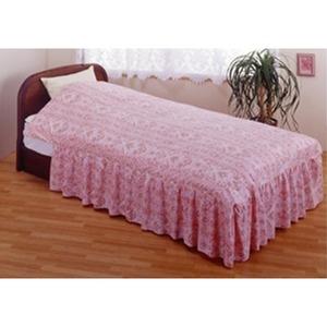 フリル付きベッド用掛け布団カバー シングルピンク 綿100% 日本製