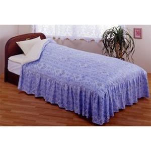 フリル付きベッド用掛け布団カバー ダブルブルー 綿100% 日本製