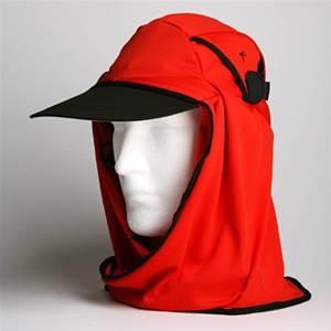 日焼け防止・UVカットする帽子、紫外線保護指数UPF50+【フリルネックU.T.E. ポリエステルマイクロメッシュ】(レッド) - 拡大画像