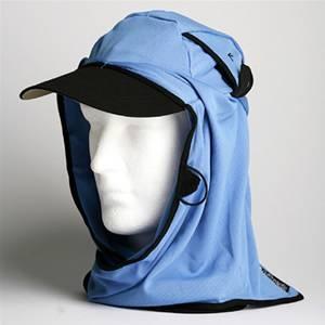 日焼け防止・UVカットする帽子、紫外線保護指数UPF50+【フリルネックU.T.E. ポリエステルマイクロメッシュ】(スカイブルー) - 拡大画像