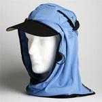 日焼け防止・UVカットする帽子、紫外線保護指数UPF50+【フリルネックU.T.E. ポリエステルマイクロメッシュ】(スカイブルー)