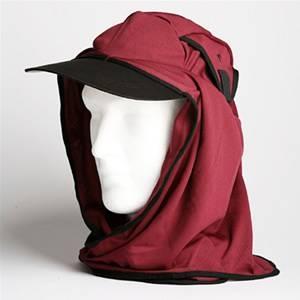 日焼け防止・UVカットする帽子、紫外線保護指数UPF50+【フリルネックU.T.E. ポリエステルマイクロメッシュ】(えび茶色) - 拡大画像