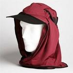 日焼け防止・UVカットする帽子、紫外線保護指数UPF50+【フリルネックU.T.E. ポリエステルマイクロメッシュ】(えび茶色)