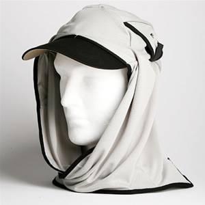 日焼け防止・UVカットする帽子、紫外線保護指数UPF50+【フリルネックU.T.E. ポリエステルマイクロメッシュ】(ライトグレー/ブラック) - 拡大画像