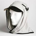 日焼け防止・UVカットする帽子、紫外線保護指数UPF50+【フリルネックU.T.E. ポリエステルマイクロメッシュ】(ライトグレー/ブラック)