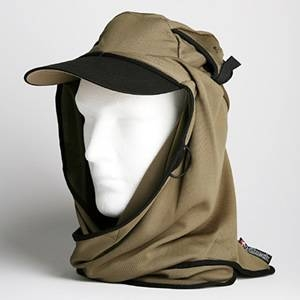 日焼け防止・UVカットする帽子、紫外線保護指数UPF50+【フリルネックU.T.E. ポリエステルマイクロメッシュ】(オリーブ) - 拡大画像